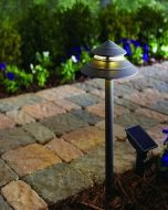 "2 Hampton Bay ""2-Tier"" Solar LED Path Lights with Remote Charging Panel - Bronze"