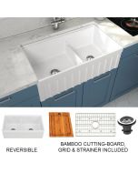 Empire Industries Yorkshire Farmhouse Fireclay 33 in. 55/45 Double Bowl Kitchen Sink with Cutting-Board, Grid and Strainer in White