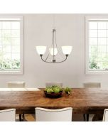 Hampton Bay HDP12085 Hastings 3-Light Brushed Steel Chandelier with White Glass Shades