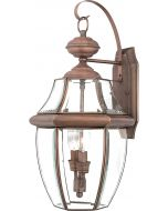 "Quoizel NY8317AC Newbury Outdoor Wall Lantern Wall Mount Lighting, 2-Light, 120 Watts, Aged Copper (20""H x 11""W)"