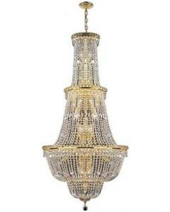 Freedy Lighting 11880 34 Light 28 Inch Chandelier with Polished Gold Finish on Durable Brass Frame and Premium Grade Lead Content of 30% Crystal
