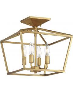 "Savoy House 6-328-4-322 Townsend 4-Light Semi-Flush Ceiling Light in a Warm Brass Finish (13"" W x 13"" H)"