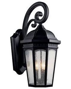 """Courtyard 26.5"""" 3 Light Outdoor Wall Light with Clear Seeded Glass in Textured Black"""
