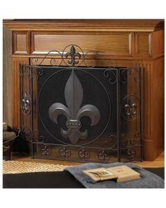 BSD National Supplies Victorian Fleur De Lis Iron Fireplace Screen