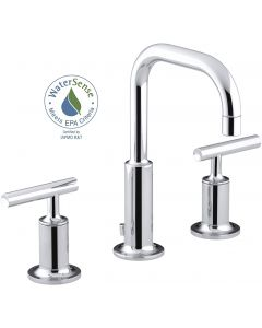 Bathroom Faucet by KOHLER, Bathroom Sink Faucet, Purist Collection, 2-Handle Widespread Faucet with Metal Drain, Polished Chrome, K-14406-4-CP
